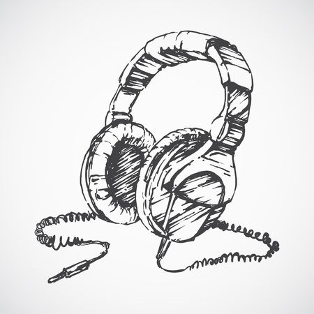 Sketched headphones Ilustrace