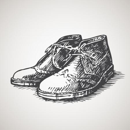 ビンテージの砂漠のブーツのスケッチ