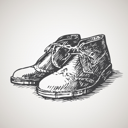casual wear: Sketched vintage desert boots