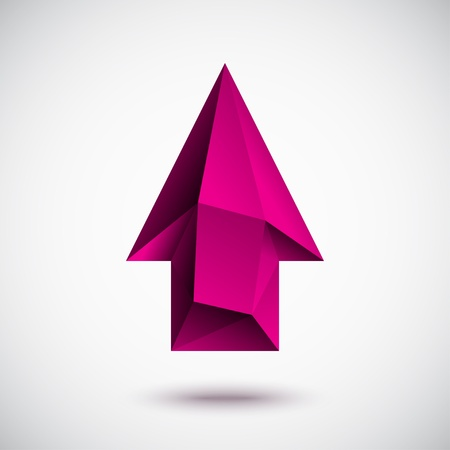 3d magenta up arrow with light background