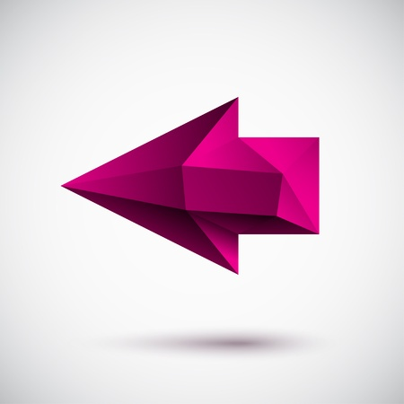 3d magenta left arrow with light background Vector