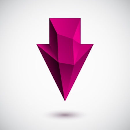 3d magenta down arrow with light background Vector