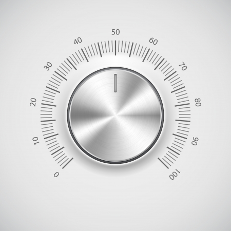 Chrome volume knob  button  with light background Vector