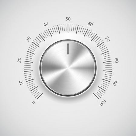 switcher: Chrome volume knob  button  with light background