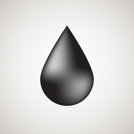 Realistic black bubble drop with light background Vector