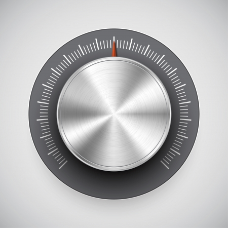 Chrome volume knob  button, music tuner  with light background Vector