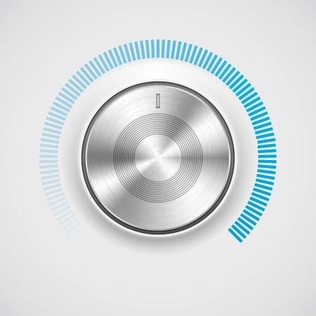 Volume button  music knob  with metal texture  chrome