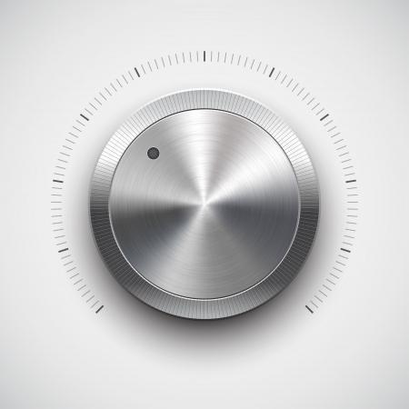 panel de control: Botón de volumen de la música con el mando de la textura de metal cromado Vectores