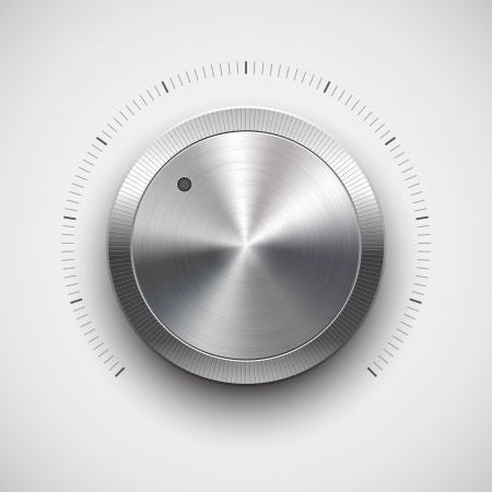 Hlasitosti tlačítko music knoflík s kovovým textury chrom Ilustrace