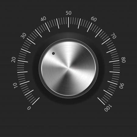 Bot�n de volumen de la m�sica con el mando de la textura de metal cromado Vectores
