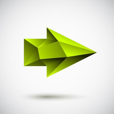 Moderno 3d signo verde flecha hacia la derecha con la sombra y la luz de fondo
