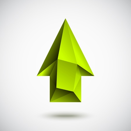 Trendy 3d green up arrow sign with shadow and light background Reklamní fotografie - 15085530