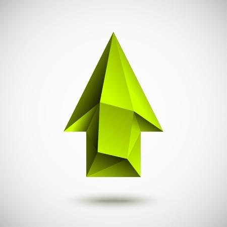 Trendy 3d zelená šipka nahoru znamení se stínem a světlem na pozadí Ilustrace