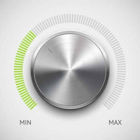 sonido: Bot�n de volumen de m�sica perilla de metal de acero con textura, cromo, escala de color verde y la luz de fondo