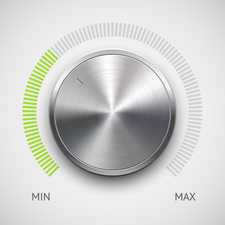 Volume button  music knob  with metal texture  steel, chrome , green scale and light background Vector