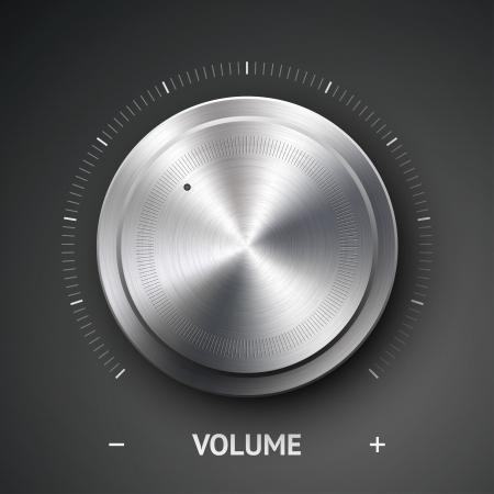 Tlačítko hlasitosti (hudba knoflík) s kovovou texturu (ocel, chrom), rozsahu a tmavém pozadí Ilustrace