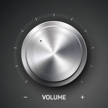Volume button (music knob) with metal texture (steel, chrome), scale and dark background Ilustrace