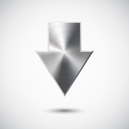 Down arrow sign with realistic metal (silver, chrome, steel) texture, light background and shadow for web sites and interfaces.