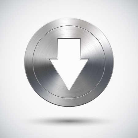Button with metal (chrome) texture, down arrow sign, light background and shadow