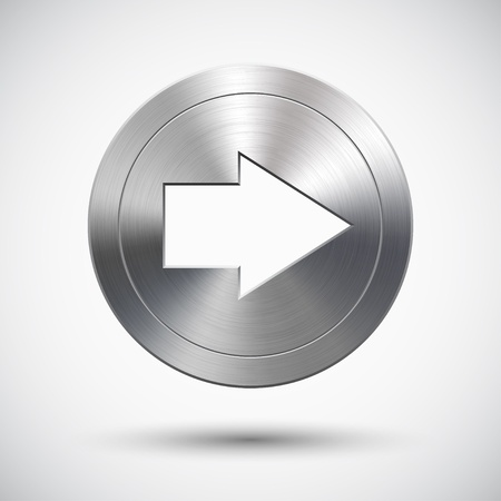 right arrow: Button with metal (chrome) texture, right arrow sign, light background and shadow