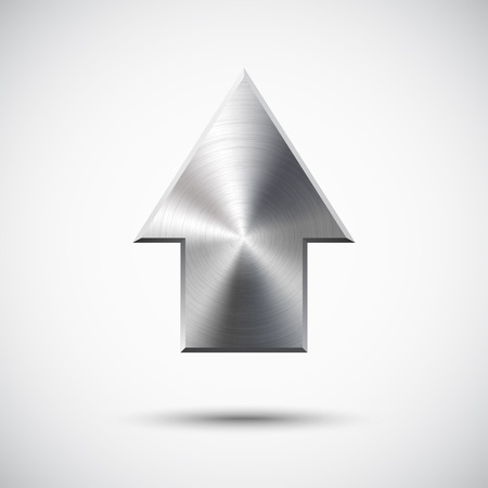 Up arrow sign with realistic metal (silver, chrome, steel) texture, light background and shadow for web sites and interfaces. Illustration