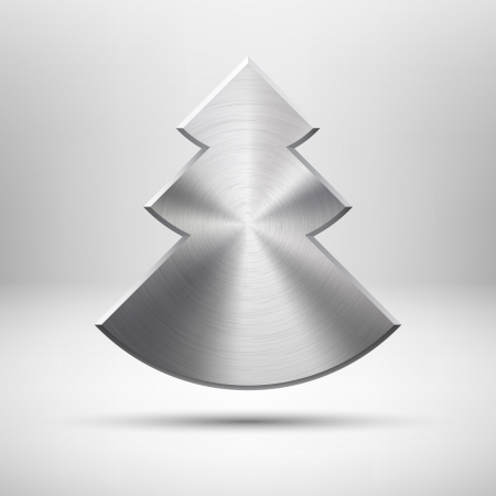 Abstract technology icon button with Merry Christmas tree, metal texture, stainless steel, chrome, realistic shadow and light background for internet sites, web user interfaces ui and applications, app
