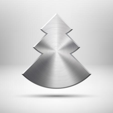 Abstraktní technologie ikona tlačítko s Veselé vánoční strom, kovových textury, nerez, chrom, realistické stíny a světlém pozadí pro internetové stránky, webové uživatelské rozhraní uživatelského rozhraní a aplikace, App Reklamní fotografie - 16447125