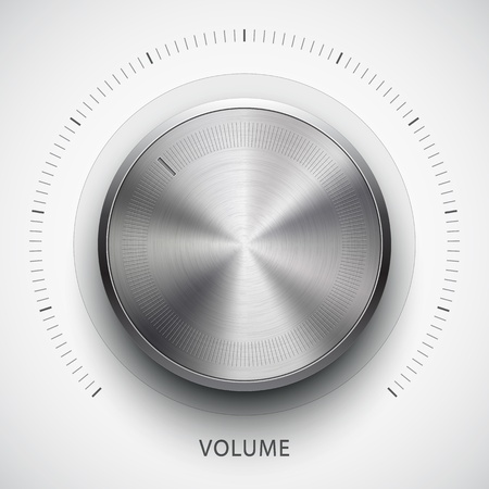 volume knob: Abstract technology icon, button with metal texture, stainless steel, chrome, silver, realistic shadow and light background for internet sites, web user interfaces, ui and applications, app