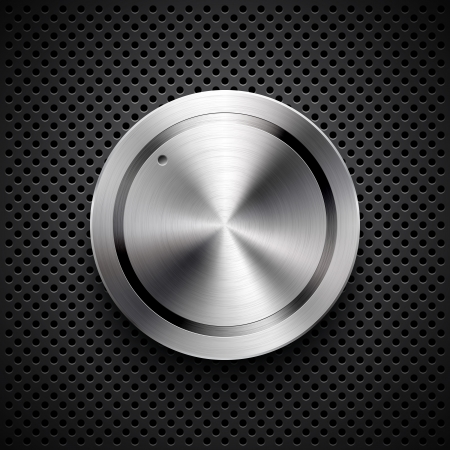 Abstract technology icon, button with metal texture, stainless steel, chrome, silver, realistic shadow and dark background for internet sites, web user interfaces, ui and applications, app Ilustrace