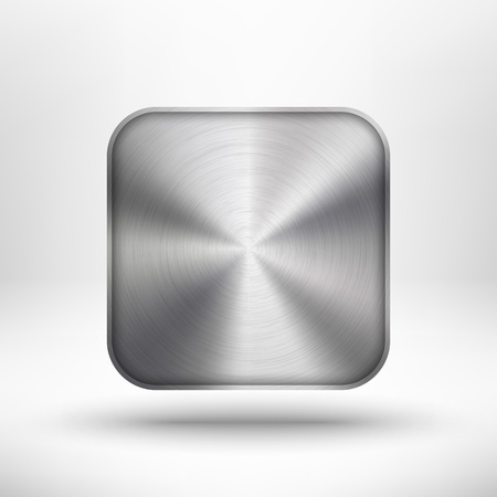 Tecnología abstracta botón con el icono con textura de metal, acero inoxidable, cromo, plata, sombra y luz de fondo realista para los sitios de Internet, las interfaces web de usuario, interfaz de usuario y aplicaciones, App