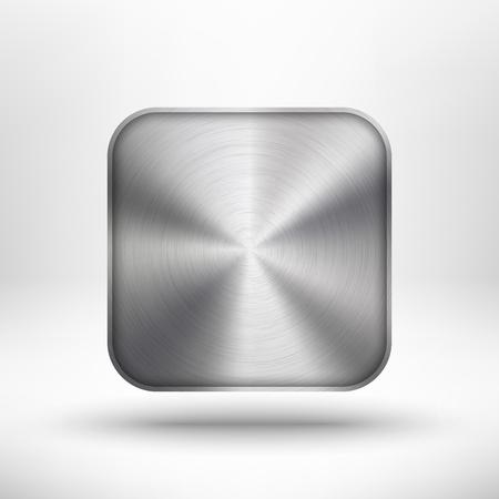 Tecnolog�a abstracta bot�n con el icono con textura de metal, acero inoxidable, cromo, plata, sombra y luz de fondo realista para los sitios de Internet, las interfaces web de usuario, interfaz de usuario y aplicaciones, App