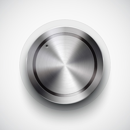 Abstract technology icon, button with metal texture, stainless steel, chrome, silver, realistic shadow and light background for internet sites, web user interfaces, ui and applications, app