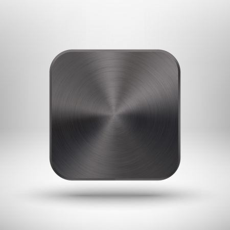 Abstract technology icon  button  with black metal texture  stainless steel, chrome, silver , realistic shadow and light background for internet sites, web user interfaces  ui  and applications  app   Vector design illustration   イラスト・ベクター素材