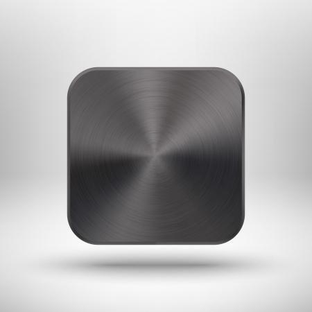 Abstract icon technologie tlačítko s black metal textury z nerezové oceli, chrom, stříbro, realistické stíny a světlém pozadí pro internetové stránky, web uživatelské rozhraní ui a aplikace app vektorové design ilustrace