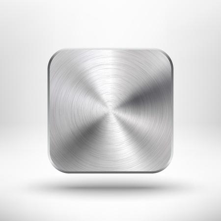 抽象的な技術金属の質感のステンレス鋼、クロム、銀、リアルな影、インター ネット サイトの光の背景でアイコン ・ ボタン web ユーザー インター