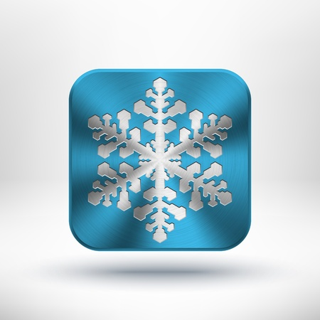 Christmas snowflake icon with metal texture  chrome, stainless steel, silver , realistic shadow and light background for internet sites, web user interfaces  ui  and applications  app   Winter holidays