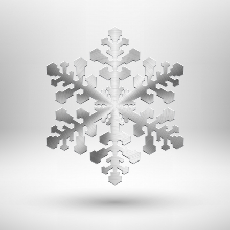 Abstract Chrismas snowflake symbol with metal texture  chrome, stainless steel, silver , realistic shadow and light background for internet sites, web user interfaces  ui  and applications  app   Winter holidays  design illustration