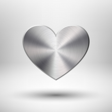 Valentines s day heart with metal  chrome, stainless steel, iron, silver  texture, light background and shadow for web sites, user interfaces  ui  and applications  apps   Vector illustration