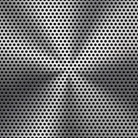 Technologické zázemí s bezešvé kruhové z děrovaného plechu chrom, železo, nerez ocel, stříbrné Mřížka reproduktoru textury pro internetové stránky, webové uživatelské rozhraní, rozhraní a aplikace, apps vector pattern Ilustrace