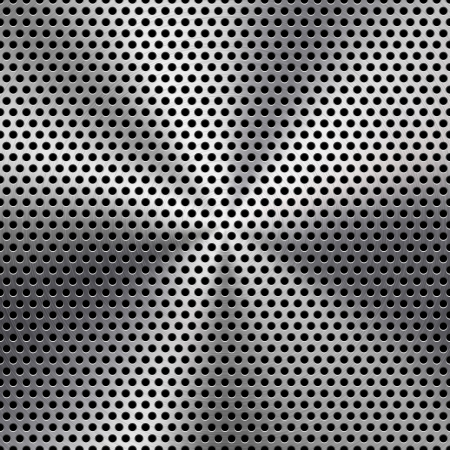 Technology background with seamless circle perforated metal  chrome, iron, stainless steel, silver  speaker grill texture for internet sites, web user interfaces  ui  and applications  apps   Vector Pattern