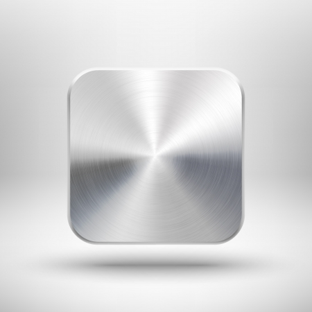 Abstract technology icon  button  with metal texture  stainless steel, chrome, silver , realistic shadow and light background for internet sites, web user interfaces  ui  and applications  app design illustration  Stock Illustration - 17466641