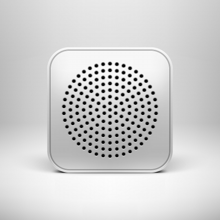 Technology app icon  button  blank template with circle perforated speaker grill texture  pattern , realistic shadow and light background for internet sites, web user interfaces  ui  and applications  app   Vector design illustration Stock Vector - 17932082