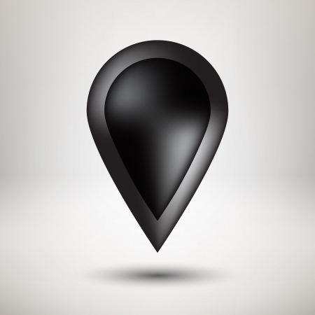 Black bubble icon badge with realistic shadow and light background  Vector illustration
