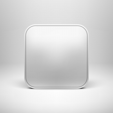 ios: Technologie vierge app ic�ne mod�le de bouton avec une ombre r�aliste et fond clair pour les sites internet, web interfaces utilisateur l'interface utilisateur et des applications app de dessin vectoriel illustration
