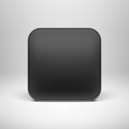 Technology black blank app icon  button  template with realistic shadow and light background for internet sites, web user interfaces  ui  and applications  app   イラスト・ベクター素材