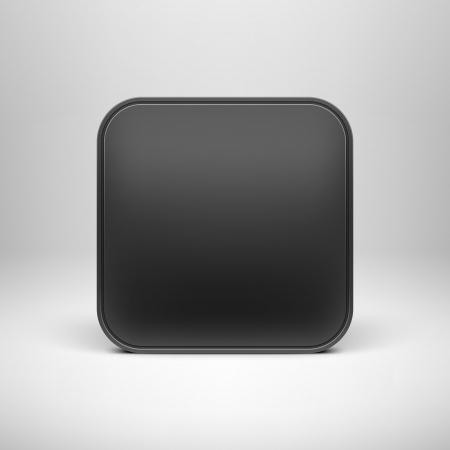 Technologie černými prázdný app ikona tlačítka šablony s realistickým stínem a světlém pozadí pro internetové stránky, webové uživatelské rozhraní uživatelského rozhraní a aplikací App Ilustrace