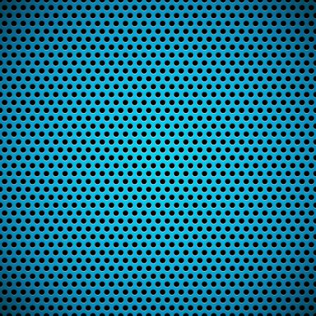 青色のシームレスな円形の穴があいたプラスチック (カーボン) スピーカーと技術背景テクスチャのグリル