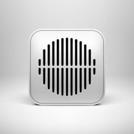 computer speaker: Technology app icon (button) blank template with circle perforated speaker grill texture (pattern) Illustration