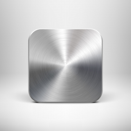 技術は、金属の質感のステンレス、クロム、銀、リアルな影、インター ネット サイトの明るい背景でアイコン ボタン テンプレートを空のアプリ、w