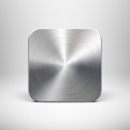 Technologie prázdný ikonu aplikace knoflík šablona s kovovou texturou z nerezové oceli, chrom, stříbro, realistické stíny a světlém pozadí pro internetové stránky, web uživatelské rozhraní ui a aplikace app design ilustrace Reklamní fotografie - 18439433
